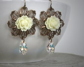 BUTTERCREAM ROSES romantic vintage Victorian fantasy rose earrings with Swarovski crystal drops