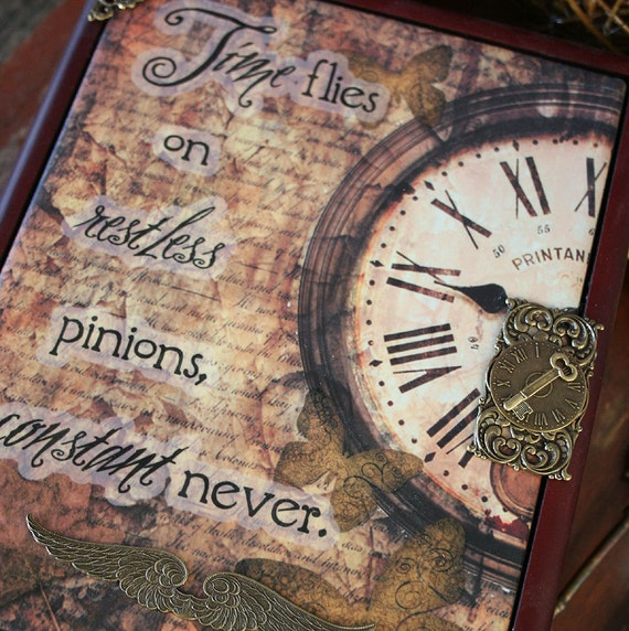 TIME FLIES altered heirloom steampunk inspired tile and mahogany treasure box or jewelry box
