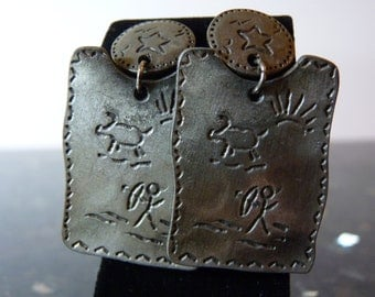 SALE Vintage Silver Primitive Native American Style Earrings with Bow Hunter