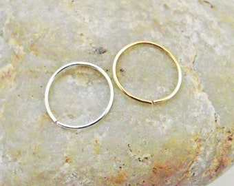 Two Nose Rings, 14K Gold Filled, Argentium Silver, 22 Gauge Nose Hoops, Slim Cartilage Hoops, Helix Piercing Hoops