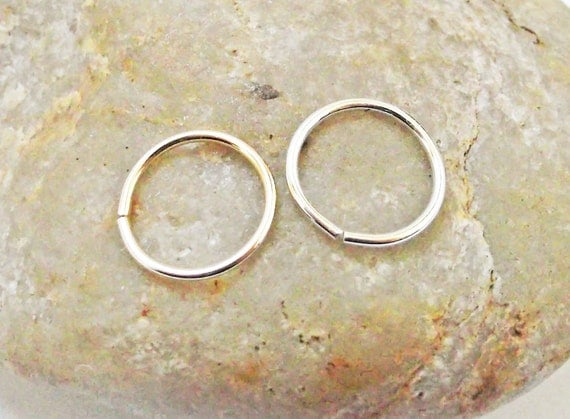 Two 20 Gauge Nose Rings, 14K Gold Filled, Argentium Silver, Cartilage Jewelry, Set of 2 Nose Hoops, Daith Piercing Hoop, Helix Piercing