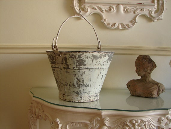 French Vintage Antique Metal Bucket Pail By