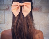 Unique peach Pink BIG hair bow .