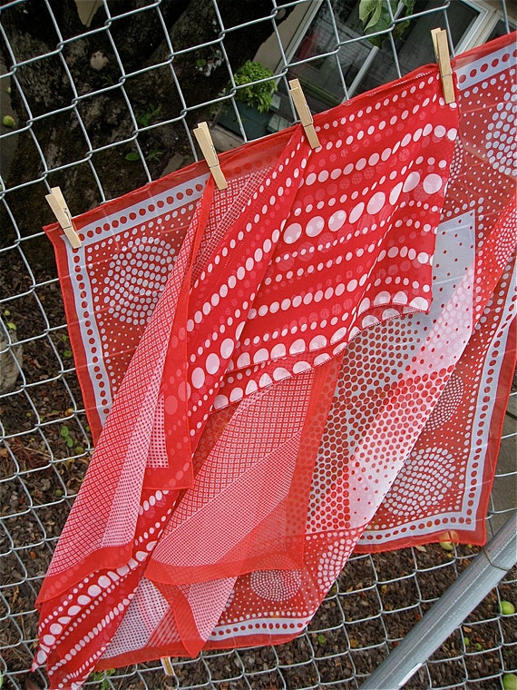 Red and White Dot Lot Vintage Poly Chiffon Sheer Scarves
