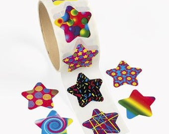 100 Funky Star Stickers - 1 Roll