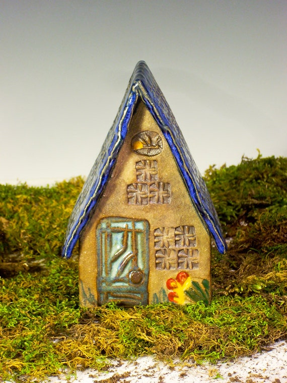 Fairy House with Cobalt Blue Roof and Firefly Detail