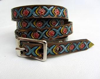 Leather wrap bracelet hand painted with flowers and buckle