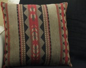 Native American inspired pillow, contemporary textural primitive pattern, subtle colors of olive green, black, maroon 18 x 18