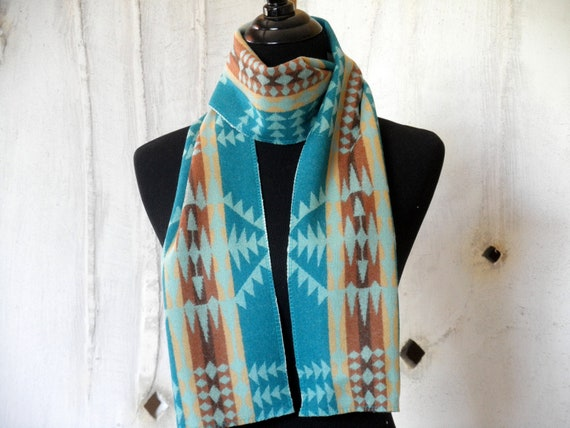 Navajo scarf, Pendleton wool , fashion accessory in turqoise, brown, cream, stunning reversible pattern 65 x 6 1/2