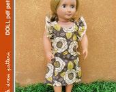 Anya Doll Dress - PDF Pattern - Doll Size 18 inch, PDF Downloadable, Easy Pattern