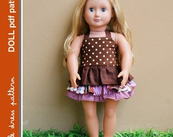 Brandy Doll Dress - PDF Pattern - Doll Size 18 inch, PDF Downloadable, Easy Pattern
