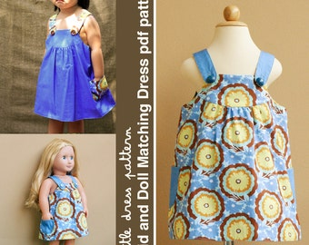 Payton Reversible Kid and Doll Matching Dress - PDF Pattern, PDF Downloadable, Easy Pattern