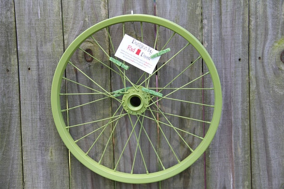 Repurposed Bicycle Tire Wall Frame