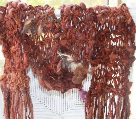 SALE Hand Knit Scarf in Handspun Natural Auburn Brown, named Fall Maple, in Super Bulky Wool Yarn with Ivory Curls