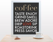 Coffee Typography Print - Poster art modern kitchen wall decor cafe brew coffee house love brown red black gray clean fall autumn minimal