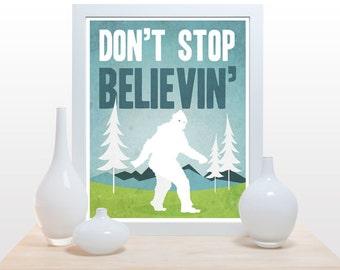 Don't stop believin' Big Foot - Poster yeti sasquatch cute aqua blue green white clean modern minimal print nursery office wall art decor