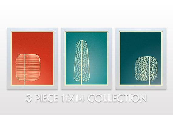 Mid Century Trees Artwork Set of 3 - 11x14 Art Print - modern wall art decor forest branches nature red coral orange aqua teal green minimal