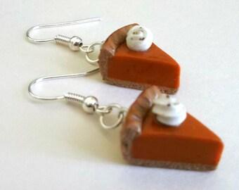 Pumpkin Pie Earrings - Handmade Polymer Clay Drop Style