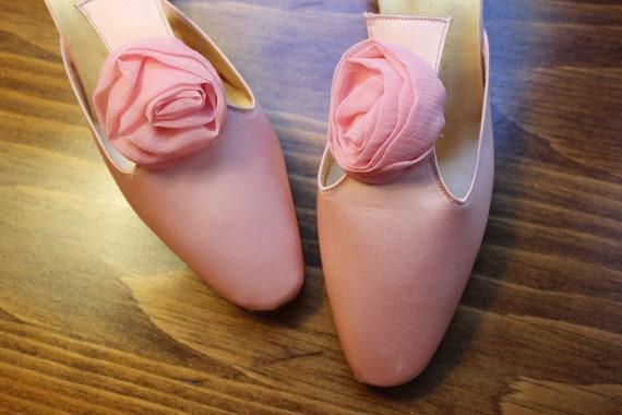 Vintage 50's Pink Satin Slippers Shoes Boudoir Degas Rose
