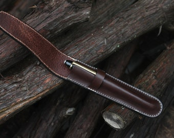 Vegetable Dyed Leather  (1) Pen Case Chocolate Brown