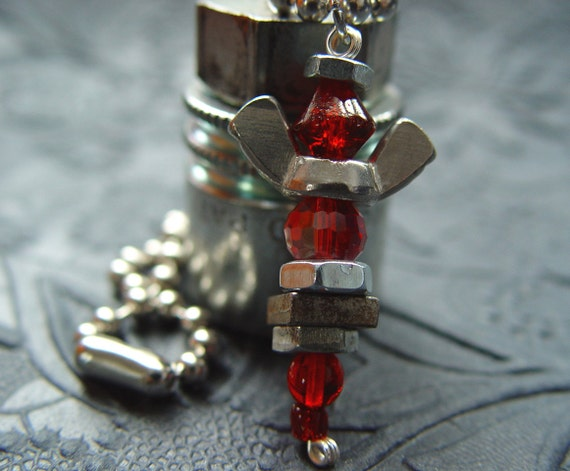 ROAD ANGEL - Iridescent Ruby Red & Silver Antiqued Wingnut Rear View Mirror Angel Charm
