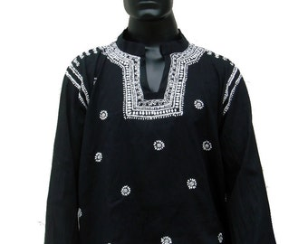 Spring summer handmade Short shirt wedding Black and white dress for Mens Kurta embroidered top indian ethnic gypsy clothing loungewear