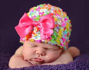 Baby Girl Hat Baby Girl Newborn Hat Baby Girl Knit Hat Baby Girl Photography Prop Baby Girl Photo Prop