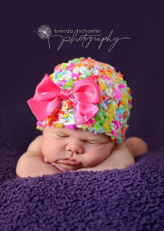 Baby Girl Newborn Hat-3months Photography Prop Knit Crochet Beanie Hat Infant Prop Pink Chunky Soft