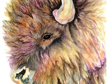 "watercolor painting ""Returning Buffalo"""