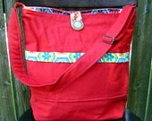 Handmade ORGANIC red diaper bag with changing pad