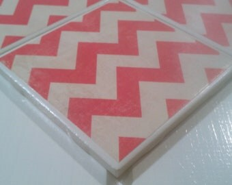Pink Chevron Coasters Four Piece Ceramic Tile Set