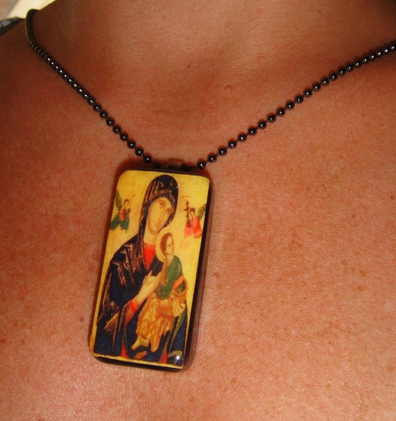 Mary: Our Mother of Perpetual Help Recycled Domino Pendant Necklace