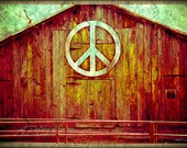 Country Photography, Peace Barn, Peace - Brown, Red, Textured - Rustic, Home Decor