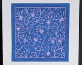 Floral pattern lino-cut greetings card