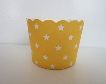 24 Yellow with White Star Scalloped Portion Nut Favor Baking Cup