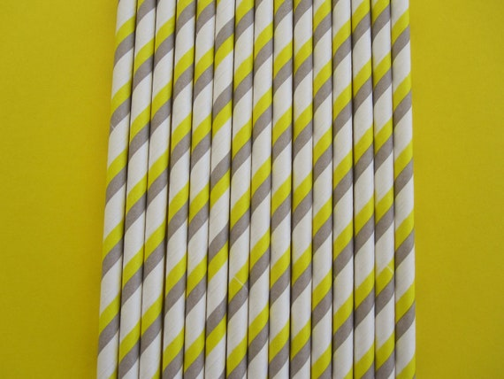 Yellow and Gray Double Striped Paper Straws