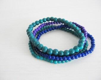 Dark blue bracelet- dark green and blue bracelets- galaxy blue, dark blue, indigo colors