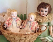 Tiny German Bisque Doll Twins Absolute Factory Mint and Rare to see Two of them