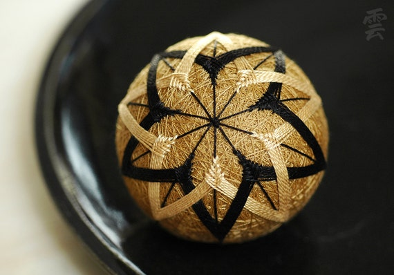 life is an experiment - very small Japanese temari - zen home decor ornament - brass black butterscotch embroidery - crafting for a cause