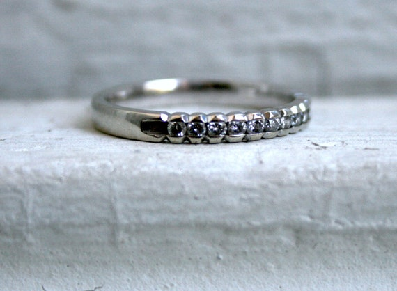 Awesome Channel Set Vintage 14K White Gold Diamond Wedding Band - 0.36ct