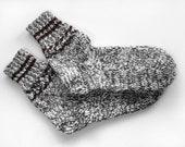 Hand Knitted Wool Socks - Melange of Black and White