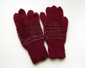 Hand Knitted Gloves - Red, Size Medium