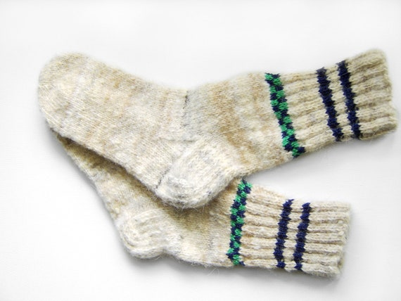 Hand Knitted Dog Wool Socks - White, Grey, Beige - Extra Large