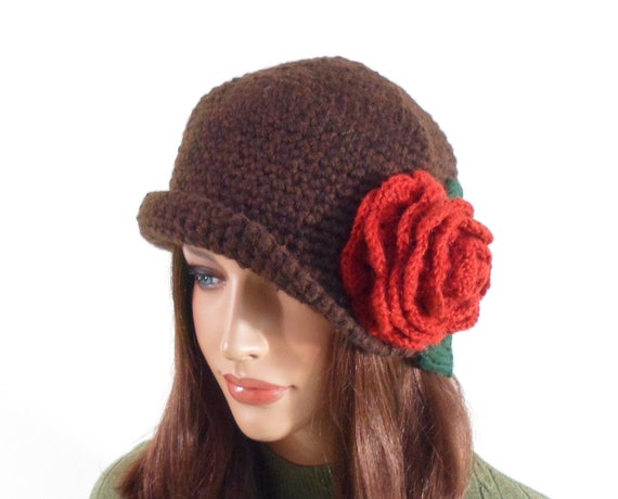 Crochet Cloche Hat with Flower - Brown