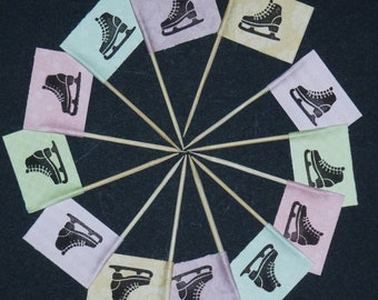 12 x Vintage Ice Skate Cupcake Flags / Picks Unique Hand Stamped Cake Decorations Toppers