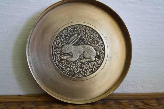 Vintage brass rabbit tray, vintage coaster