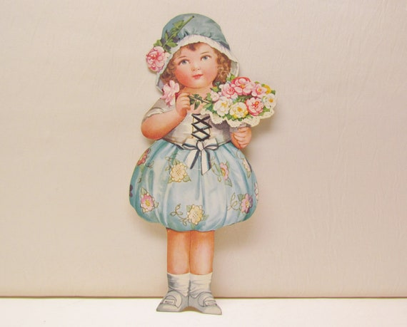 Vintage child cut-out - adorable little girl in blue with flowers, c.1920's