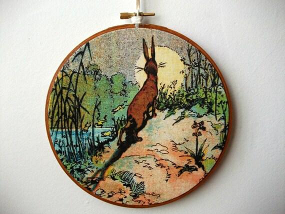 Printed Fabric Hoop Art Wall Hanging - Curious Rabbit