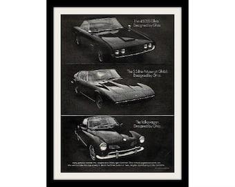 1968 VW KARMANN GHIA & Maserati Car Ad, Vintage Advertisement Print