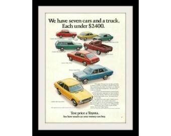 1972 TOYOTA Truck & Car Ad, Vintage Advertisement Print